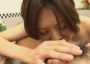 While in the bathtub, this sexy and wet Japanese hotty is there to please her man. She rubs her beautiful breasts against him and acquires him hard. She gives him a blowjob to keep him hard, and he uses toys and fucks her to keep her totally satisfied.