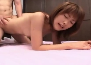 Young Japanese girl Kyouka with her perfect ass and body receives plowed doggy style in a petite motel room.