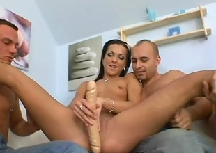 Little Brittany is one bang slut. She starts off with a admirable sex-toy in her pussy, then it explodes into a wild fuck fest and she's the only girl. All these guys take fully advantage of this little slut in many ways. Hardcore blowjobs and DP's is all in