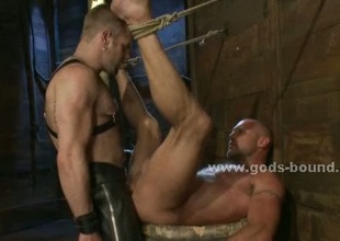 Hairless gay strong sex slave bound hard
