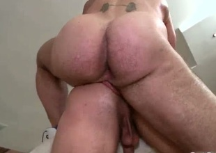 Hunky guy acquires anus rammed doggy pose
