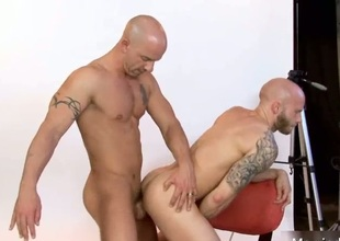 Amazing bald stud fucked deep in ass
