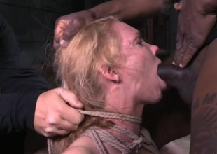 Large tits babe tied up and face hole fucked