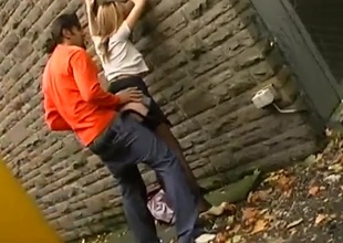 Ardent couple has incredible sex in an alley