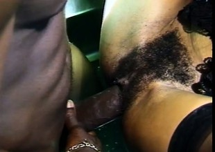 Cute ebony girl sucks a black schlong and gets fucked in the ass in public