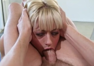 Messy throat fucking with a sexy blonde angel