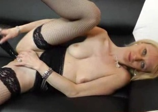 Amazing blonde Nelly spreads her legs once again