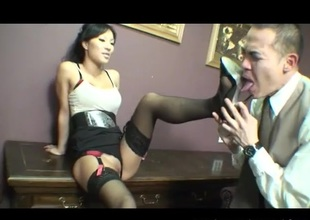 Dom Oriental demands he worship her pussy and feet