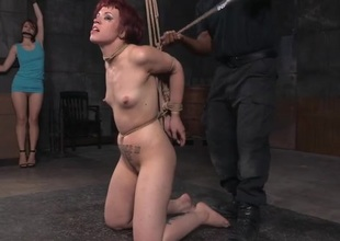 Excellent rope bondage for a skinny redhead