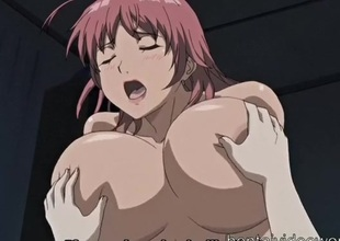 Gigantic breasts anime girl rides a big boner
