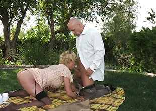 Fine blonde wench in stockings acquires nailed outdoors