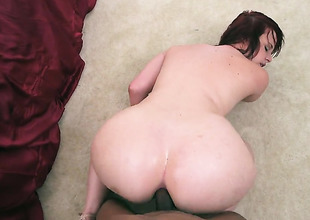 Brunette Virgo Peridot with big booty makes mans sexual fantasies cum true in interracial hardcore action