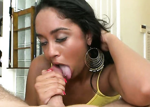 Dark brown senorita Honey Luau with round bottom takes guys upright ram rod so fucking deep after foreplay